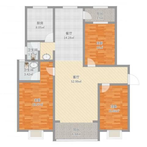 博书苑3室1厅2卫1厨141.00㎡户型图