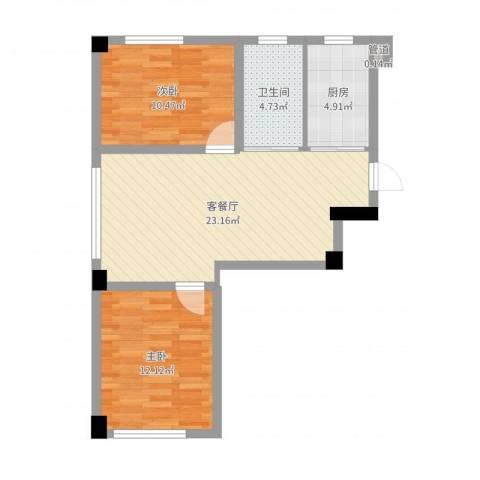 抚顺兴隆摩尔世界2室2厅1卫1厨69.00㎡户型图