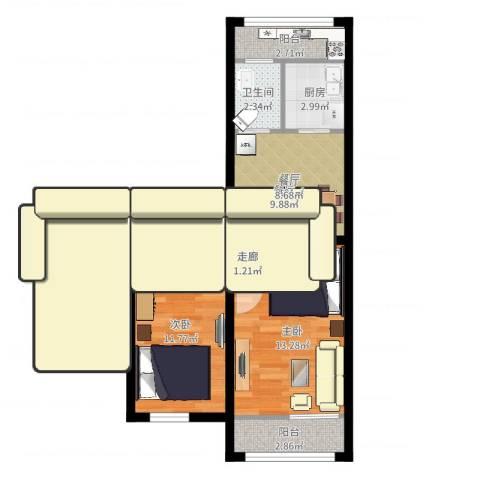 模式口南里2室1厅1卫1厨57.00㎡户型图