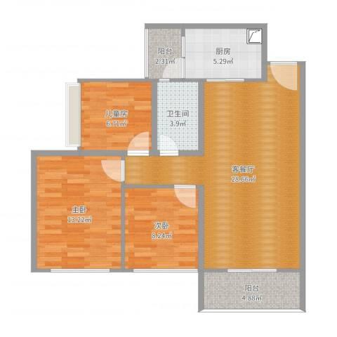 星河丹堤F区3室2厅1卫1厨88.00㎡户型图