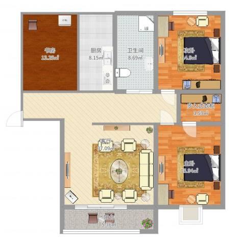 金泰花园3室1厅1卫1厨134.00㎡户型图