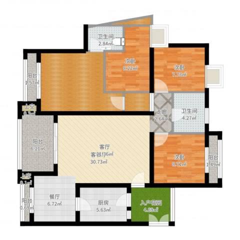 爱加丽都(一期)3室2厅2卫1厨124.00㎡户型图