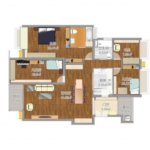 保利香雪山4室2厅1卫1厨168.00㎡户型图