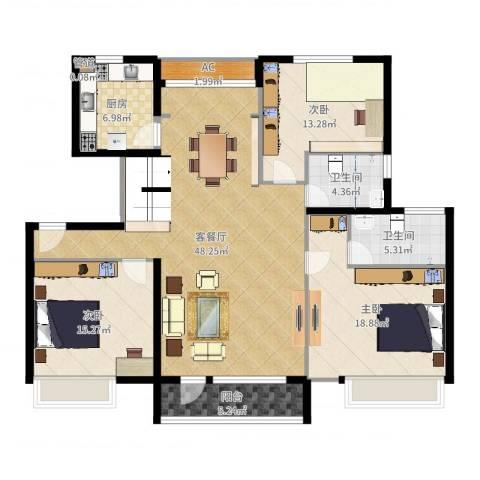 海亮公馆3室2厅2卫1厨150.00㎡户型图