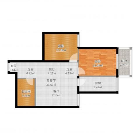 大华锦绣2室2厅1卫1厨82.41㎡户型图