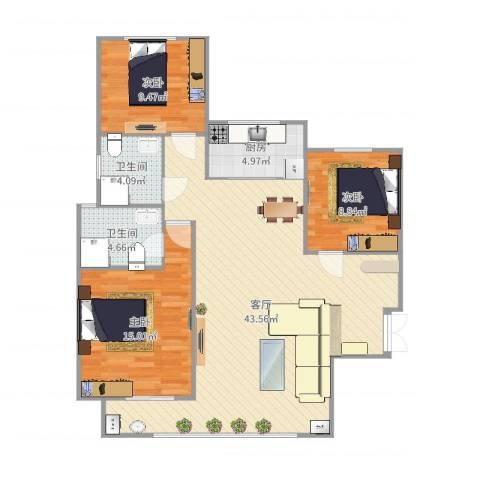 瑞府3室1厅2卫1厨119.00㎡户型图
