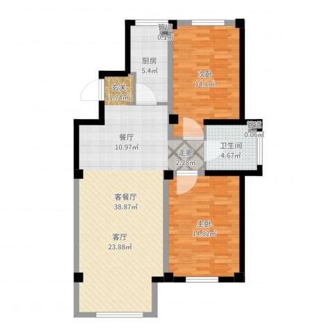 马德里皇家水岸2室2厅1卫1厨98.00㎡户型图
