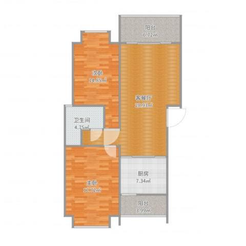 幸福里2室2厅1卫1厨105.00㎡户型图