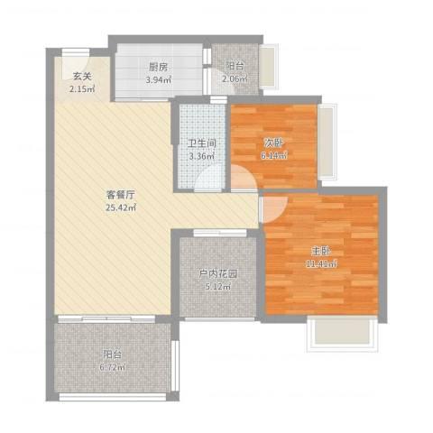 锦江盛世2室2厅1卫1厨80.00㎡户型图