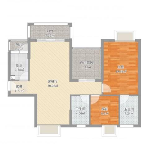锦江盛世2室2厅2卫1厨95.00㎡户型图