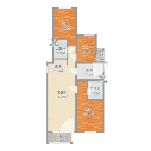 首创・龙湾3室2厅2卫1厨126.00㎡户型图
