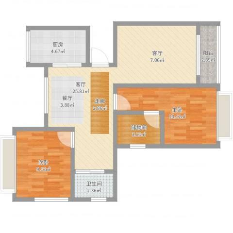 上城uptown2室1厅1卫1厨72.00㎡户型图