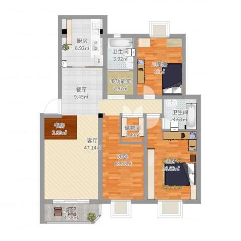 锦河苑2室1厅2卫1厨129.00㎡户型图