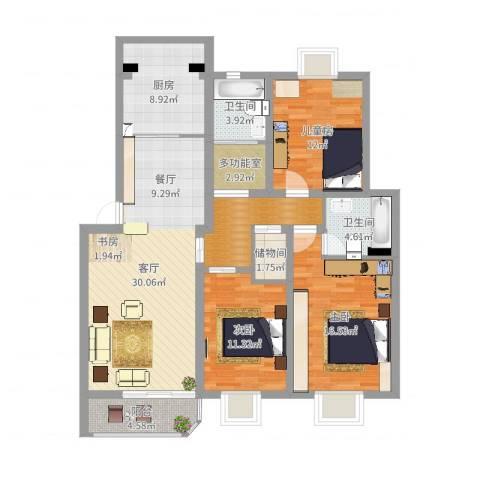 锦河苑3室1厅2卫1厨128.00㎡户型图