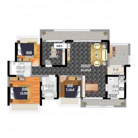 君华新城4室2厅2卫1厨125.00㎡户型图