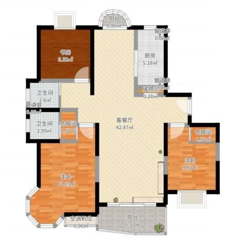 琨城帝景园3室2厅2卫1厨127.00㎡户型图