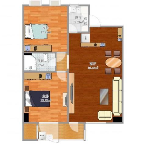 金建苑2室1厅1卫1厨87.00㎡户型图