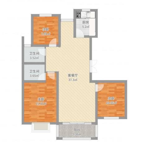 广泰瑞景城3室2厅2卫1厨111.00㎡户型图