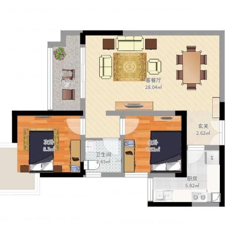 龙川北郡二期2室2厅1卫1厨71.00㎡户型图