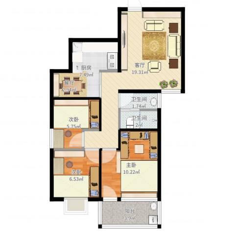 幸福香寓3室1厅2卫1厨71.00㎡户型图