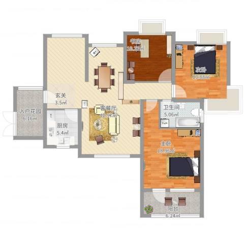 瑞泽源一里洋房3室2厅1卫1厨154.00㎡户型图