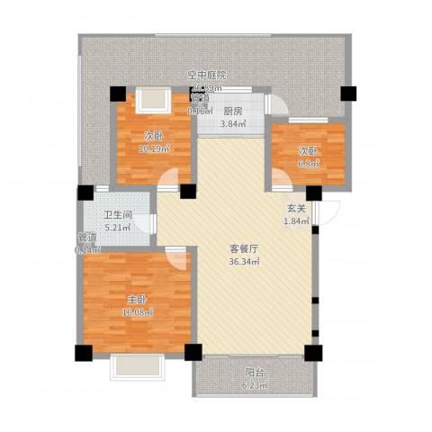 丽江映像3室2厅1卫1厨140.00㎡户型图