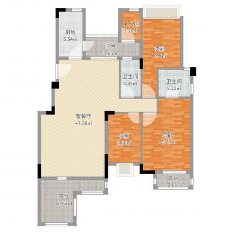 深业欧景城3室2厅2卫1厨161.00㎡户型图