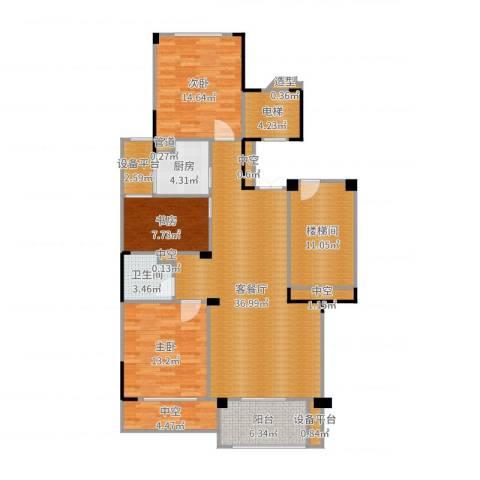 中海篁外山庄3室2厅7卫5厨140.00㎡户型图