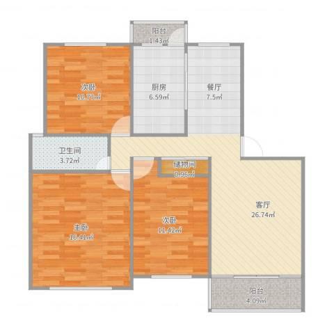 东力新村3室1厅1卫1厨103.00㎡户型图