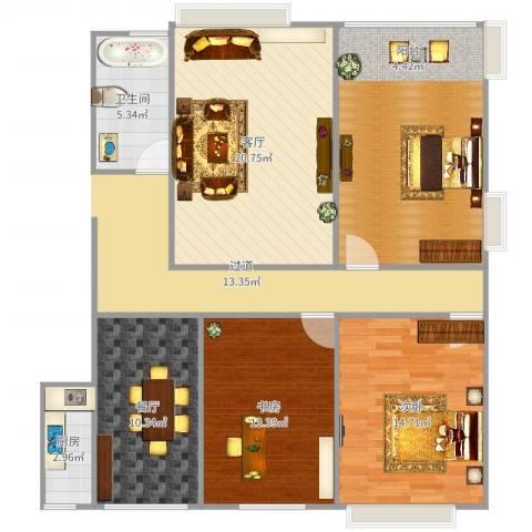浐灞1号2室2厅1卫1厨108.00㎡户型图