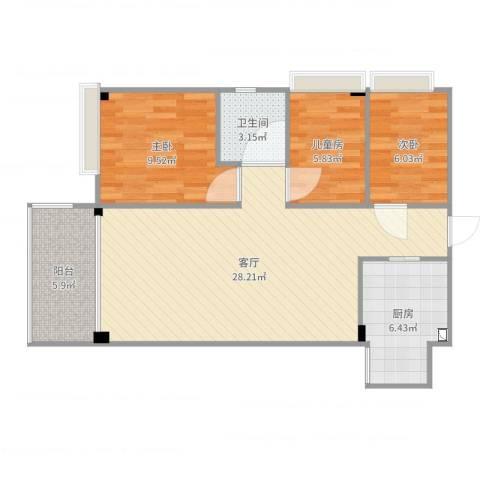 华景花园3室1厅1卫1厨81.00㎡户型图