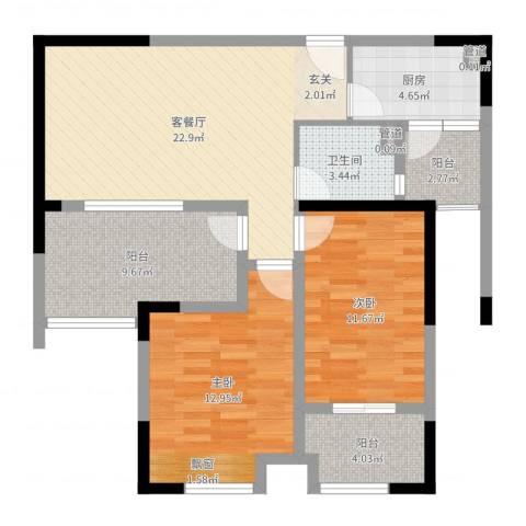 御景华庭2室2厅1卫1厨90.00㎡户型图