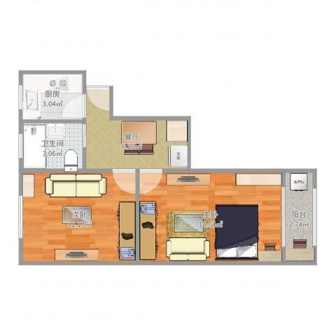 程桥二村2室1厅1卫1厨50.00㎡户型图