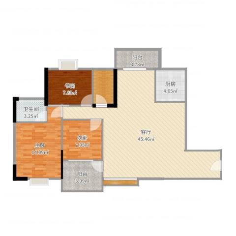 恒达花园3室1厅1卫1厨122.00㎡户型图