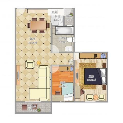 雍翠华府2室1厅1卫1厨85.00㎡户型图