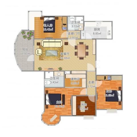 酷家乐-武汉恋湖家园一期三室两厅两卫一厨一书4室2厅2卫1厨167.00㎡户型图