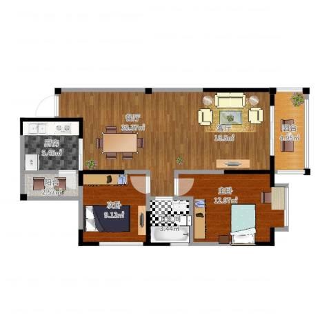 香榭国际2室1厅1卫1厨100.00㎡户型图