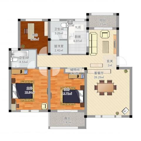 中通・凤凰城3室4厅2卫1厨129.00㎡户型图
