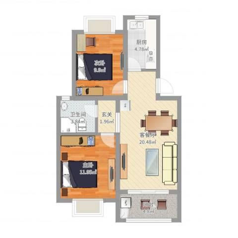 新月明星园2室2厅1卫1厨72.00㎡户型图
