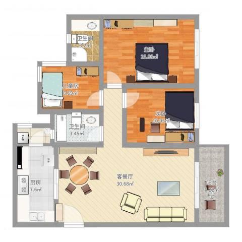 祈福新村康怡居3室2厅2卫1厨105.00㎡户型图