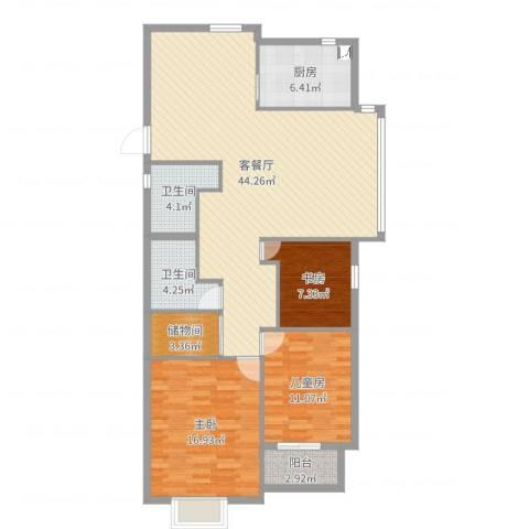 北岸琴森3室2厅2卫1厨126.00㎡户型图
