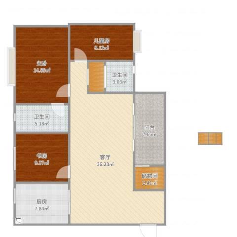利澳花园3室1厅2卫1厨122.00㎡户型图