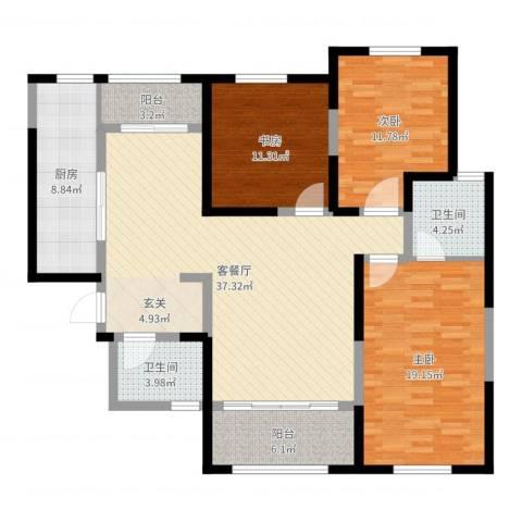 曲江千林郡3室2厅2卫1厨132.00㎡户型图