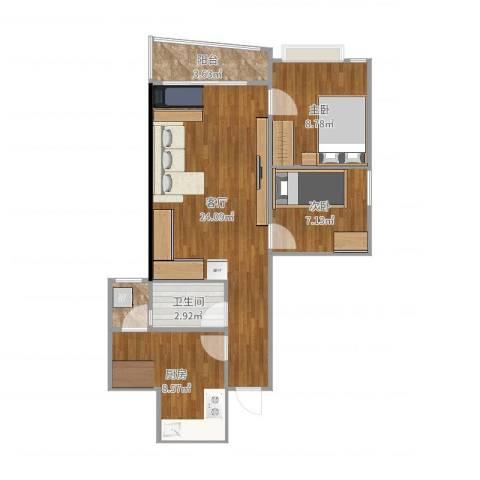 海珠信步闲庭2室1厅1卫1厨71.00㎡户型图