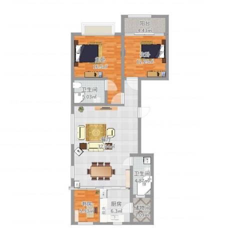 高新城市广场3室1厅2卫1厨120.00㎡户型图