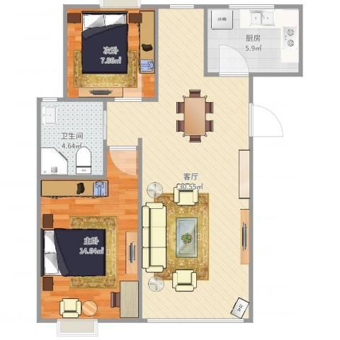 西民旺苑2室1厅1卫1厨79.00㎡户型图