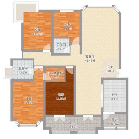 奉贤玫瑰苑4室2厅2卫1厨157.00㎡户型图