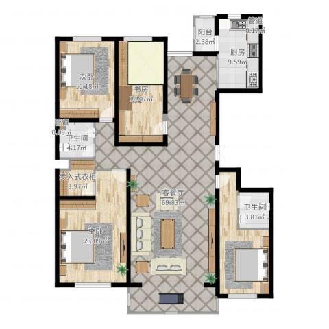 闻都雅苑3室2厅2卫1厨204.00㎡户型图