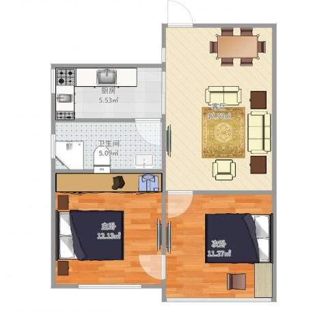 新长征花苑2室1厅1卫1厨65.00㎡户型图