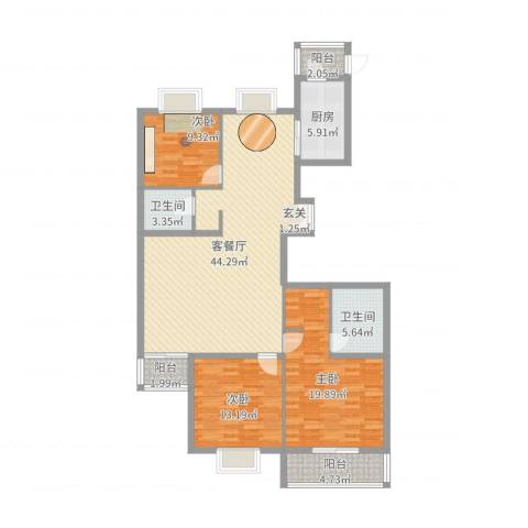 御庭・华府3室2厅2卫1厨138.00㎡户型图